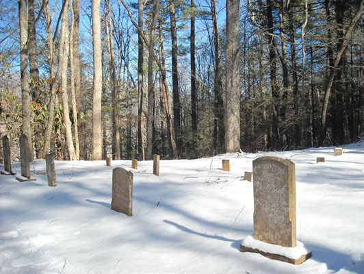 cades Cove cemetary in snow