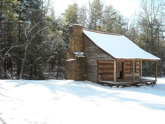 cades Cove cabin in snow