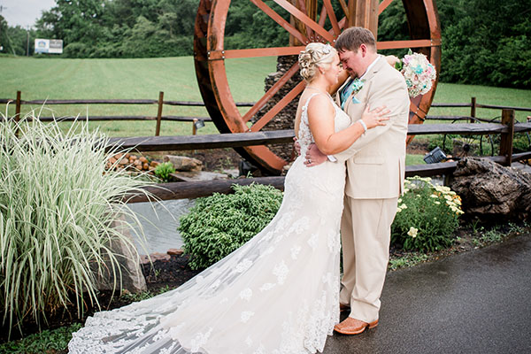 Wedding couple at the Barn Event center